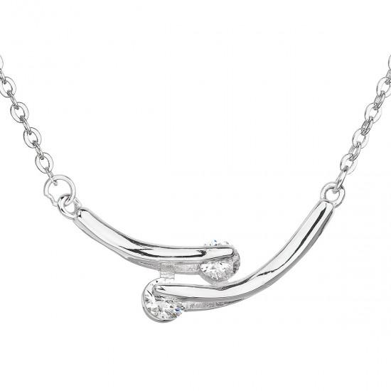 Strieborný náhrdelník so zirkónom v bielej farbe 12009.1