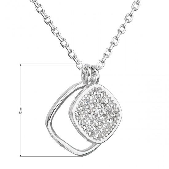 Strieborný náhrdelník so zirkónom v bielej farbe 12013.1