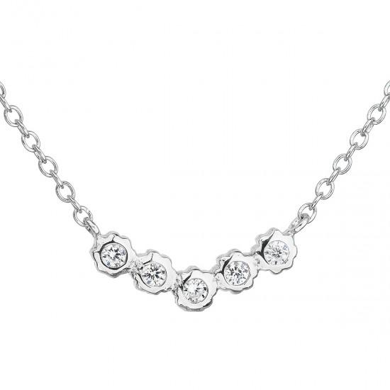 Strieborný náhrdelník so zirkónom v bielej farbe 12014.1