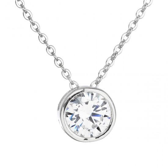 Strieborný náhrdelník so zirkónom v bielej farbe 12017.1