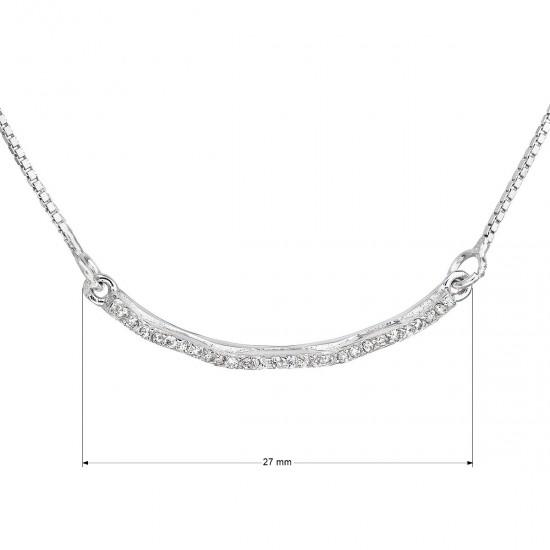 Strieborný náhrdelník so zirkónom v bielej farbe 12023.1
