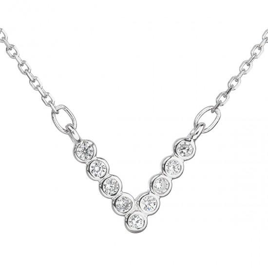 Strieborný náhrdelník so zirkónom v bielej farbe 12025.1