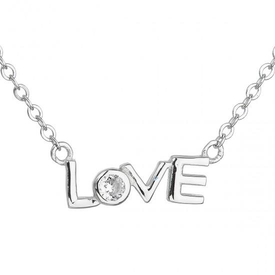 Strieborný náhrdelník so zirkónom v bielej farbe 12042.1