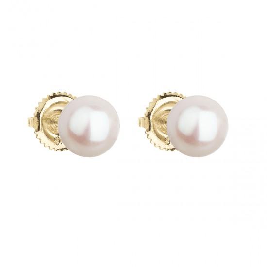 Zlaté 14 karátové náušnice kôstky s bielou riečnou perlou 921004.1
