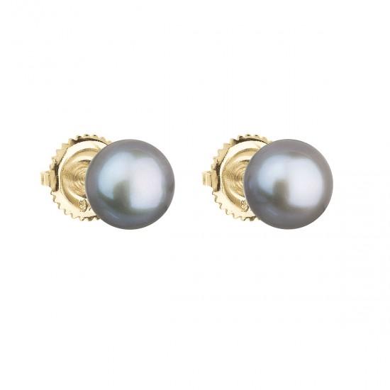 Zlaté 14 karátové náušnice kôstky so šedou riečnou perlou 921004.3