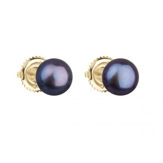 Zlaté 14 karátové náušnice kôstky s modrou riečnou perlou 921004.3