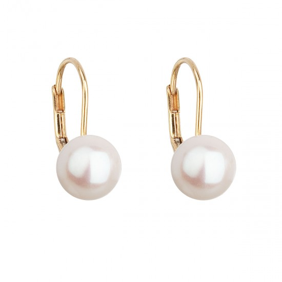 Zlaté 14 karátové náušnice visacie s bielou riečnou perlou 921009.1