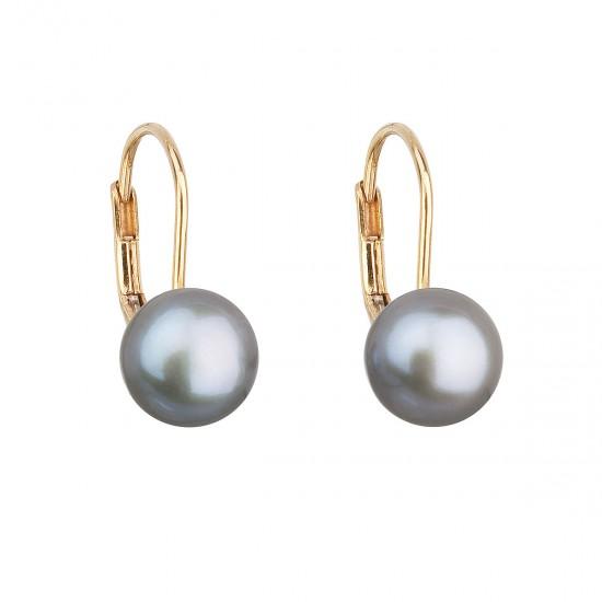 Zlaté 14 karátové náušnice visacie s šedou riečnou perlou 921009.3