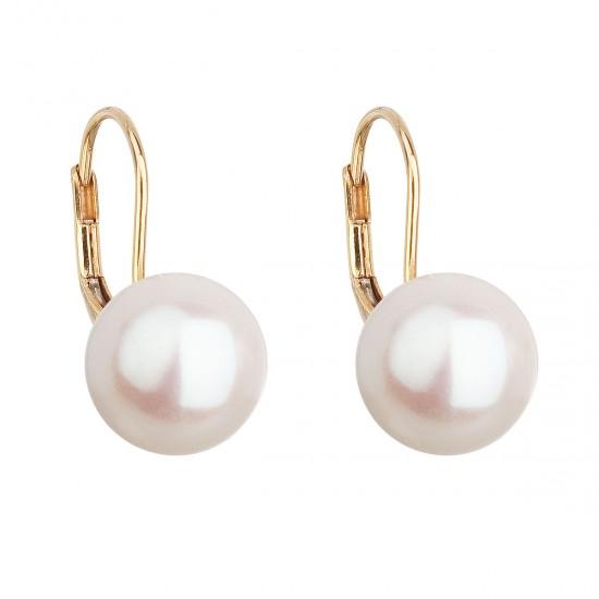 Zlaté 14 karátové náušnice visacie s bielou riečnou perlou 921010.1