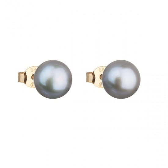 Zlaté 14 karátové náušnice kôstky so šedou riečnou perlou 921042.3