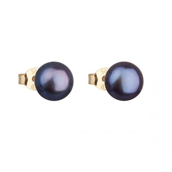 Zlaté 14 karátové náušnice kôstky s modrou riečnou perlou 921042.3