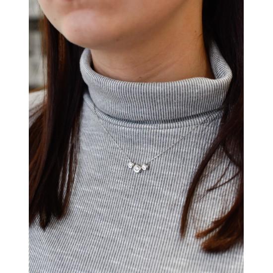 Strieborná náhrdelník s krištálmi biely okrúhly 73018