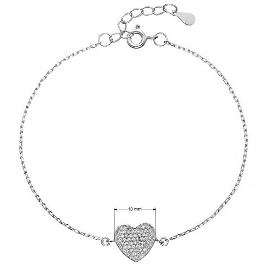 Strieborný náramok so zirkónmi srdca 13007.1