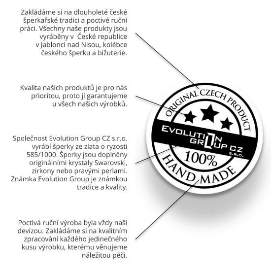 Zlaté detské náušnice visiace srdiečka s modrobielymi zirkónmi 991015.3