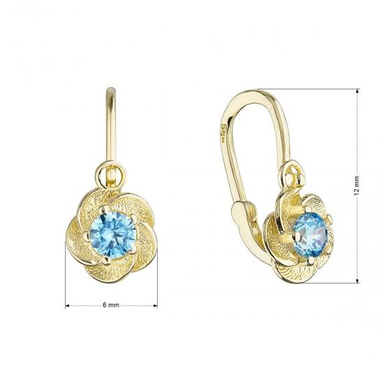 Zlaté detské náušnice visiace kvetinky s modrým zirkónom 991018.3