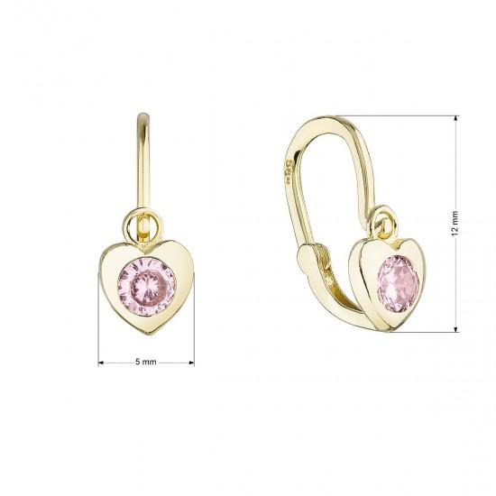Zlaté detské náušnice visiace srdiečka s ružovým zirkónom 991019.3