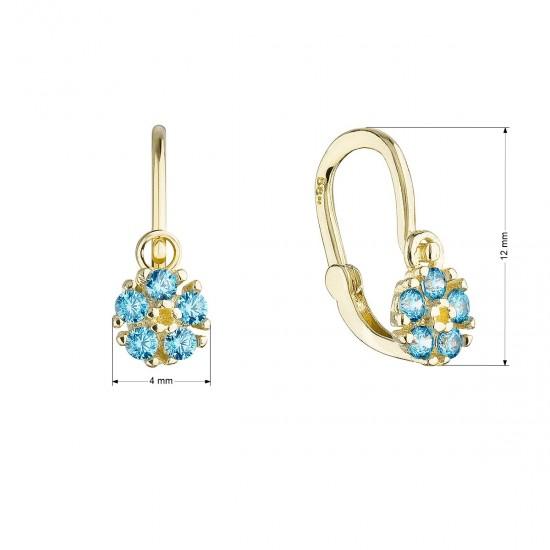 Zlaté detské náušnice visiace kvetinky s modrými zirkónmi 991020.3