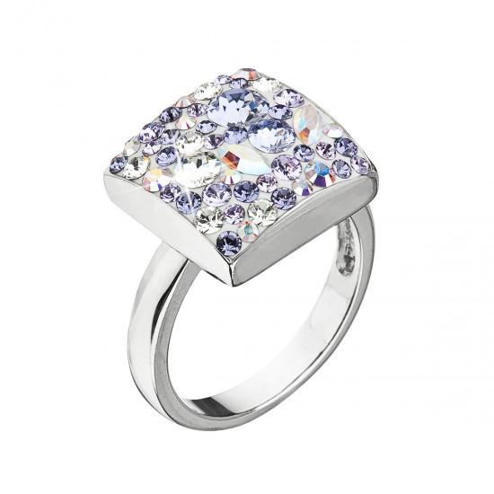 Strieborný prsteň s krištálmi Swarovski fialový 35045.3 violet