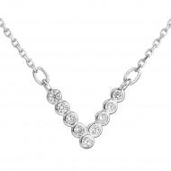 Stříbrný náhrdelník se zirkonem v bílé barvě 12025.1
