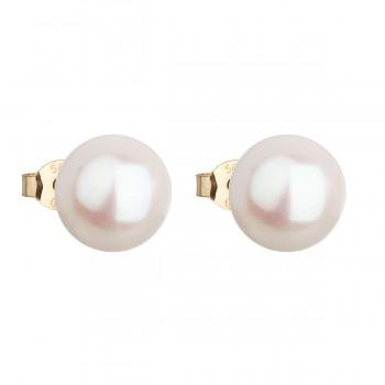 Zlaté 14 karátové náušnice pecky s bílou říční perlou 921043.1