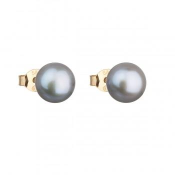 Zlaté 14 karátové náušnice pecky s šedou říční perlou 921042.3