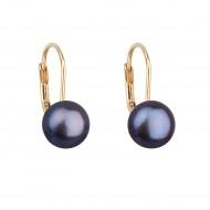 Zlaté 14 karátové náušnice visací s modrou říční perlou 921009.3