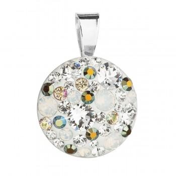 Stříbrný přívěsek s krystaly Swarovski mix barev kulatý 34209.3 iridescent green