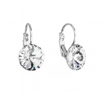 Náušnice bižuterie se Swarovski krystaly bílé kulaté 51002.1