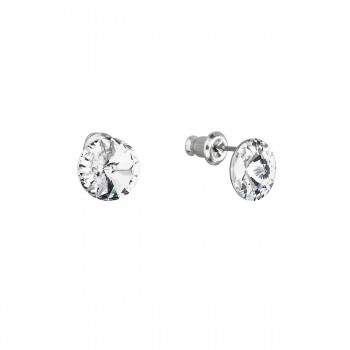 Náušnice bižuterie se Swarovski krystaly bílé kulaté 51037.1