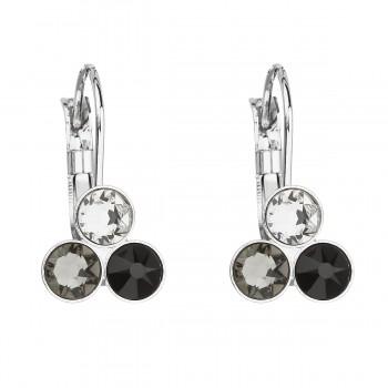 Náušnice bižuterie se Swarovski krystaly černé kulaté 51047.3
