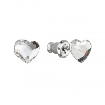 Náušnice bižuterie se Swarovski krystaly bílá srdce 51050.1