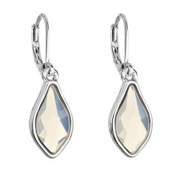 Náušnice bižuterie se Swarovski krystaly bílá kapka 51056.3