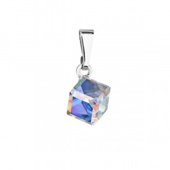 Přívěsek bižuterie se Swarovski krystaly AB efekt kostička 54019.2