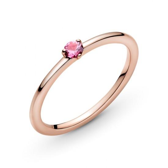 Prsteň - solitér s ružovým kameňom