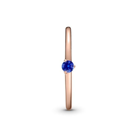 Prsteň - solitér s kameňom v nočnej modrej farbe