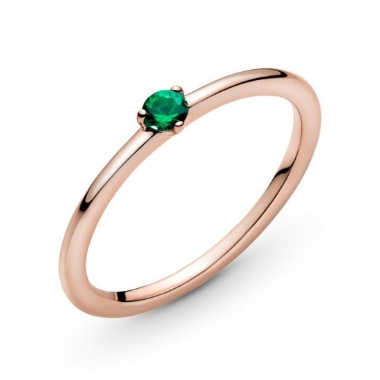 Prsteň - solitér so zeleným kameňom