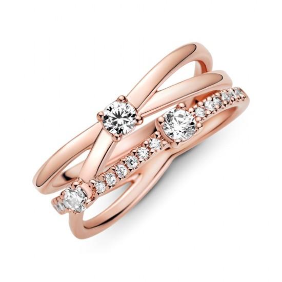 Trojitý trblietavý obrúčkový prsteň