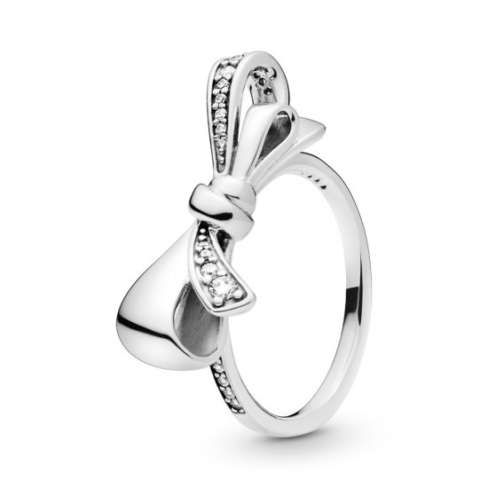 Žiarivá mašľa prsteň Pandora