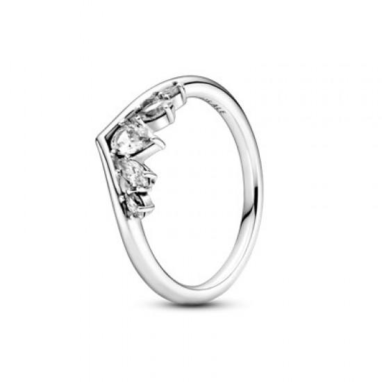 Véčkový prsteň s trblietavými markízovými a slzičkovými kamienkami