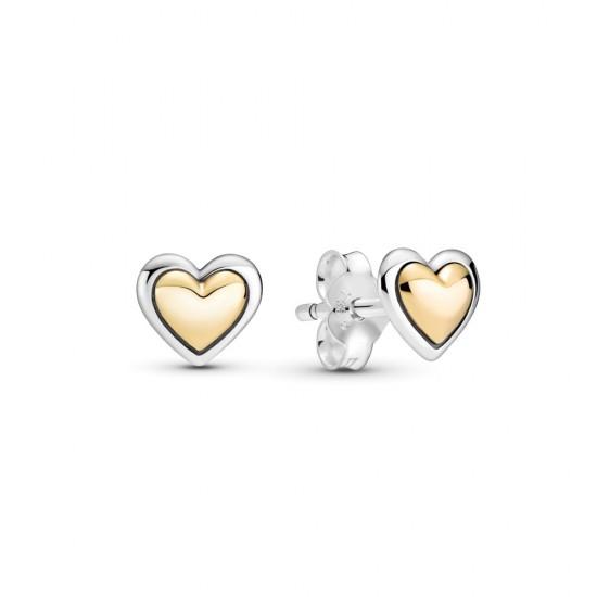 Puzetkové náušnice s klenutým zlatým srdiečkom