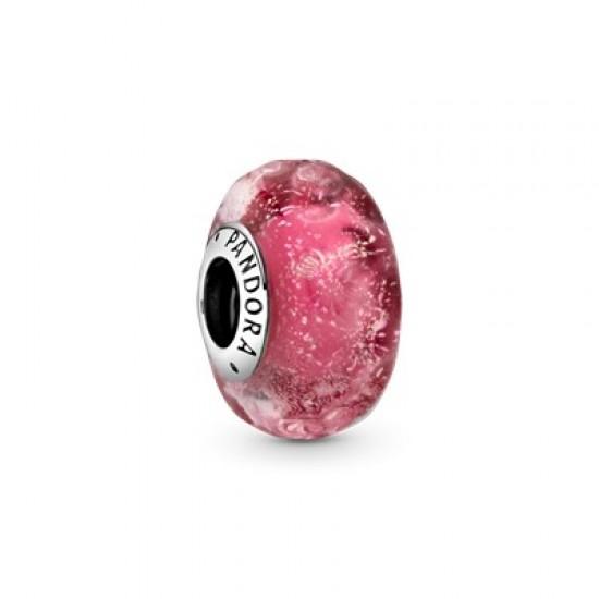 Vlnitý tónovaný ružový prívesok zmuránskeho skla